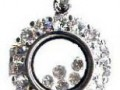 Sterling Silver Circle with Cubic Zirconia Diamonds