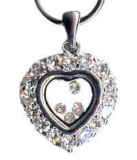 Sterling Silver Heart with Cubic Zirconia Diamonds