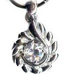 Sterling Silver Pear Shaped Pendant with Cubic Zirconia Diamonds